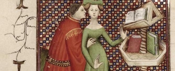 un quadro medievale con due amanti